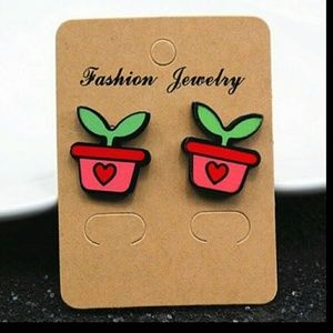 Trendy Plant Stud Earrings 2cm*1cm Women Girl